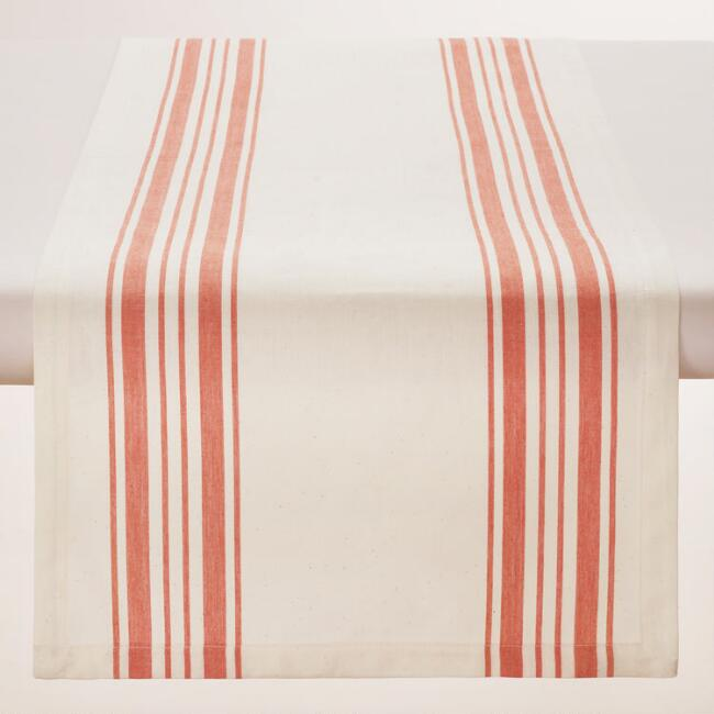 Orange Villa Stripe Table Runner