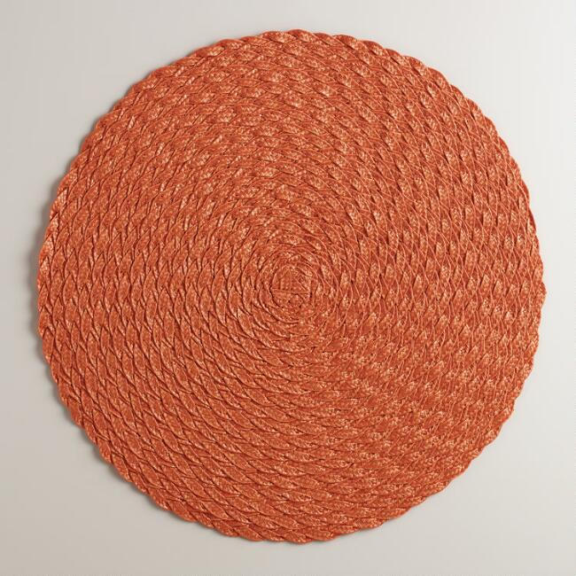 Flame Orange Round Polybraid Placemats, Set of 4