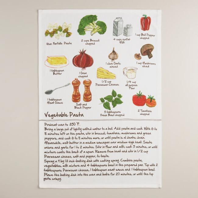 Vegetable Pasta Recipe Kitchen Towel