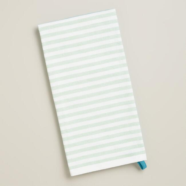 Aqua and Green Striped Kitchen Towel