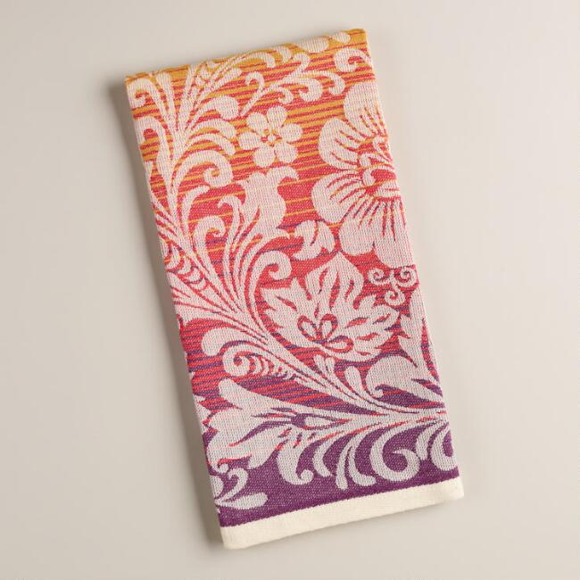 C And Plum Ombre Paisley Fl Jacquard Kitchen Towel World Market
