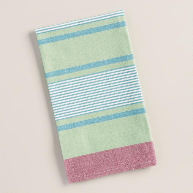 Green, White and Aqua Striped Loire Kitchen Towels, Set of 2