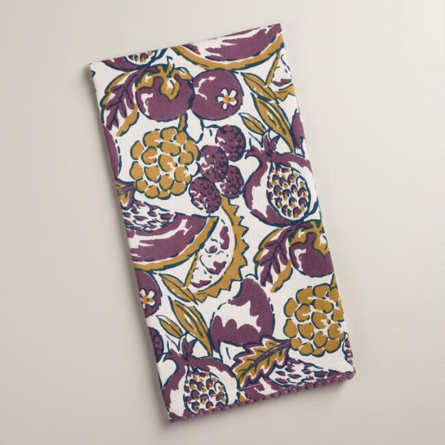 Pomegranate Block Print Kitchen Towels, Set of 2