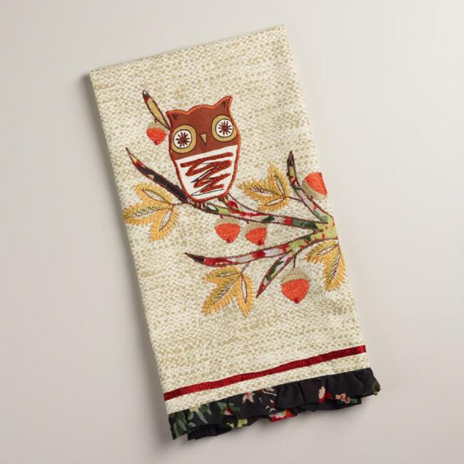 Embroidered Owl on Branch Kitchen Towel