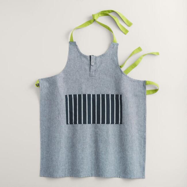 Blue stripe chambray apron world market for Cuisine you chambray