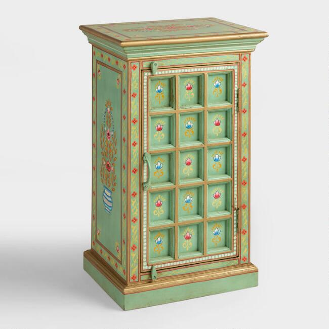 Teal Carved Wood Cabinet