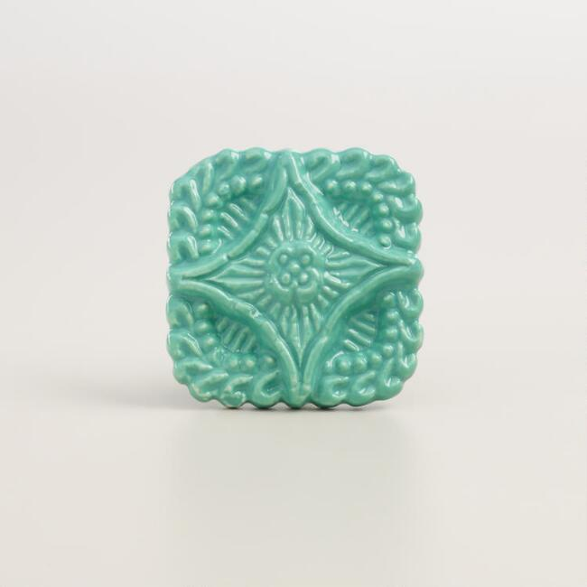 Square Teal Embossed Ceramic Knobs, Set of 2
