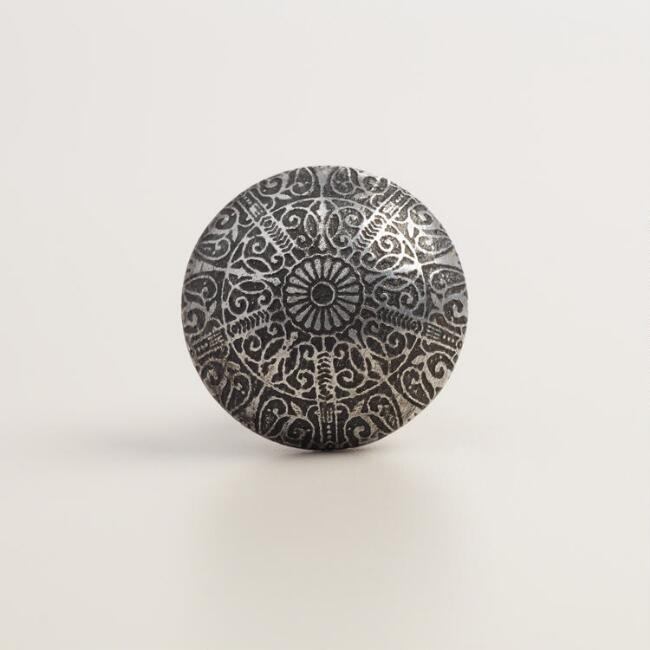 Silver Engraved Metal Knobs, Set of 2