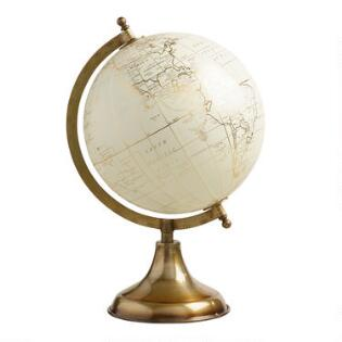 white globe on gold stand - Decorative Accents