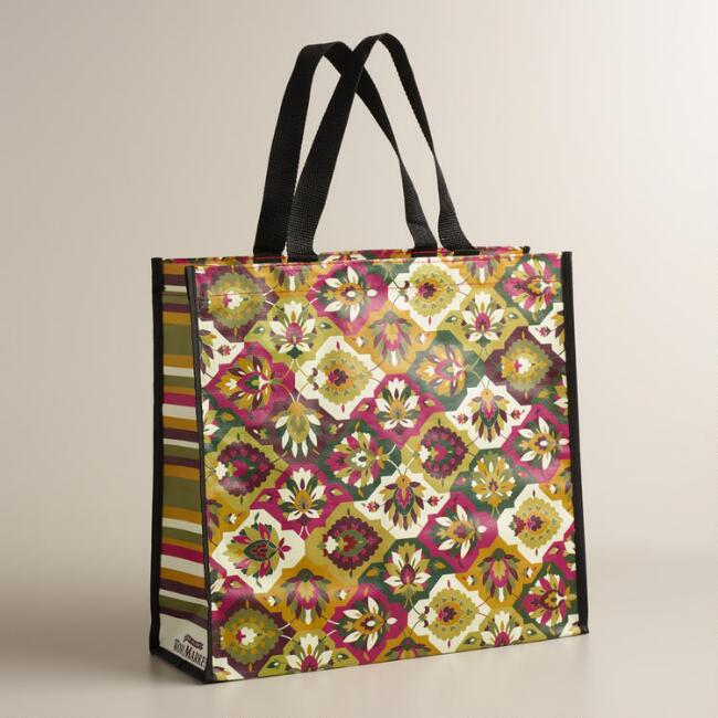 Warm Floral Tile Tote Bags, Set of 2