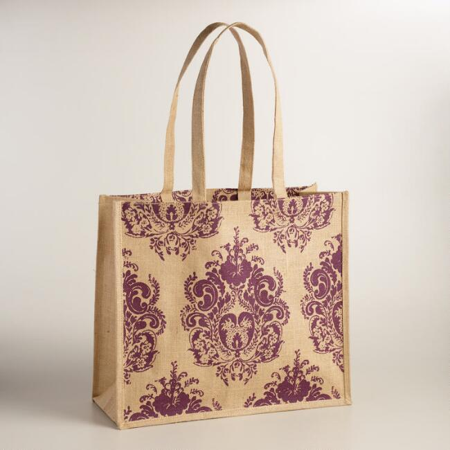 Purple Medallion Jute Claudio Tote