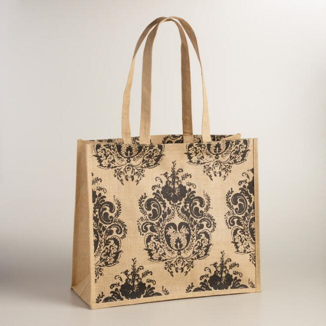 Black Medallion Jute Claudio Tote
