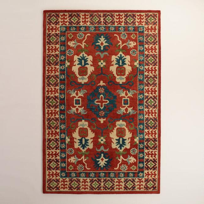 Rustic Red Hooked Wool Amelia Area Rug