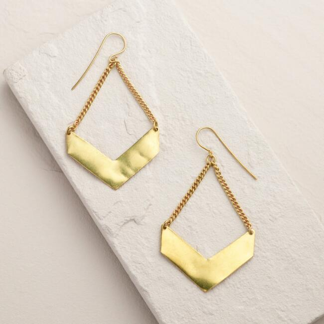 Gold Chevron Drop Earrings