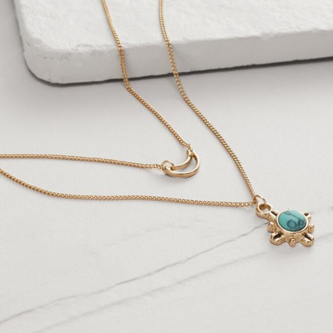 Turquoise Pendant and Moon Charm Necklaces, Set of 2