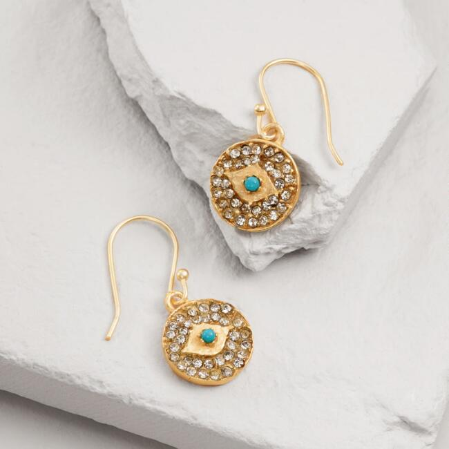 Gold and Glass Evil Eye Drop Earrings