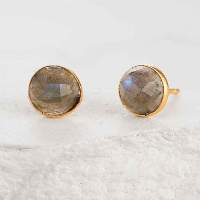Gold and Labradorite Round Stud Earrings