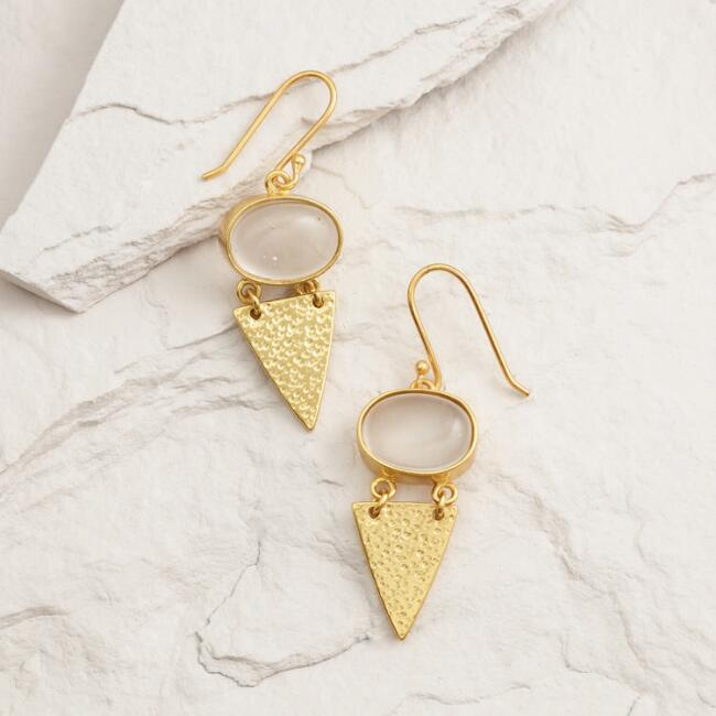Gold Triangle Glass Stone Drop Earrings