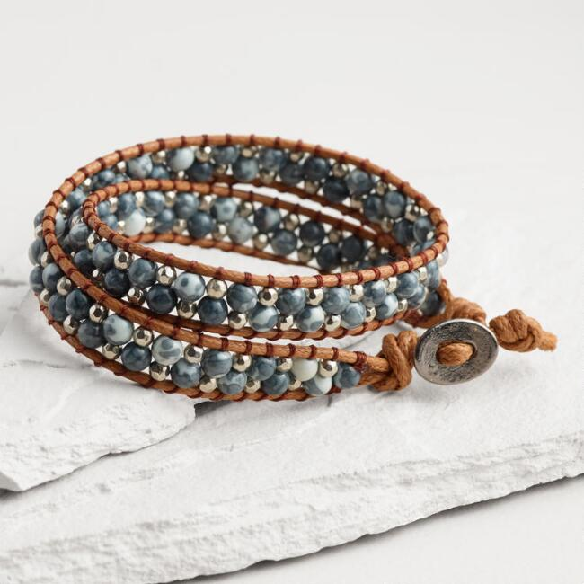 Blue Glass Bead Wrap Bracelet