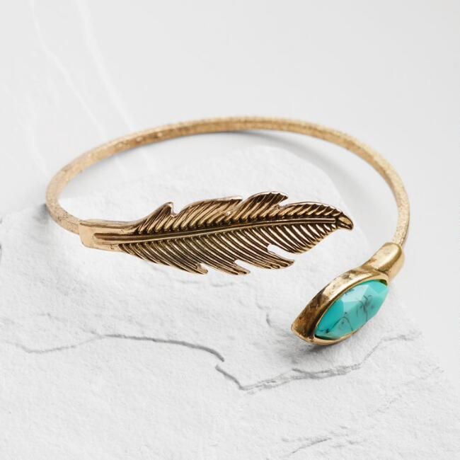 Gold Leaf and Turquoise Cuff Bracelet
