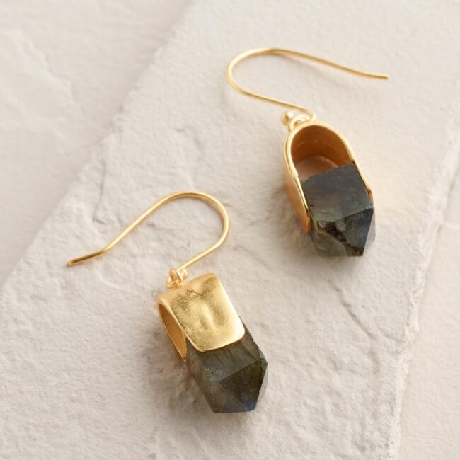 Gold Labradorite and Crystal Drop Earrings