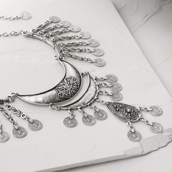 Silver Crescent Coin Layered Statement Necklace