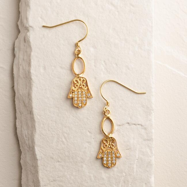 Gold Hamsa Drop Earrings