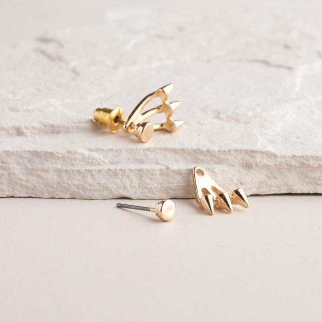 Gold Spike Ear Jacket Drop Earrings
