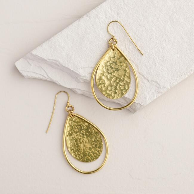 Brass Tunda Teardrop Earrings