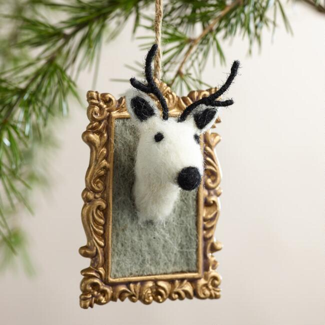 Felt Stag in Frame Ornaments, Set of 2