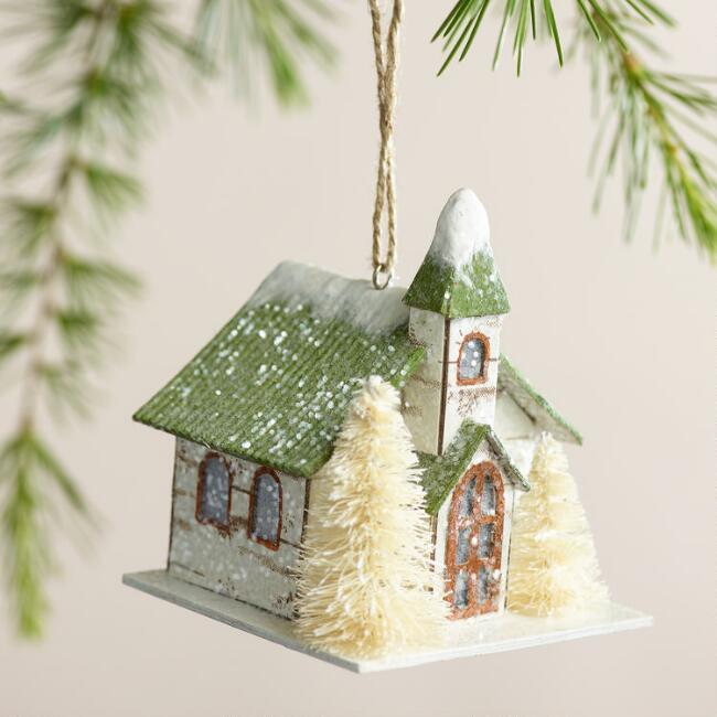 Paper Houses with Tree Ornaments, Set of 2