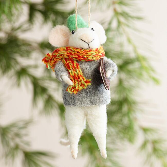 Felt Mouse with Books Ornaments, Set of 3