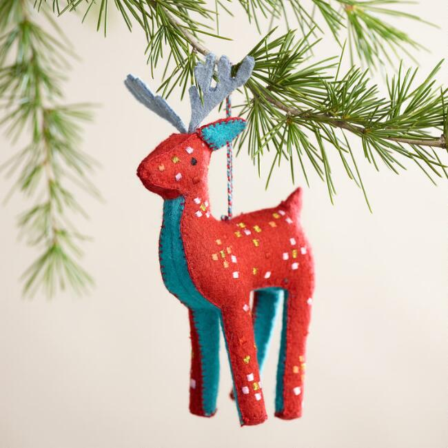 Embroidered Felt Deer Ornaments, Set of 2