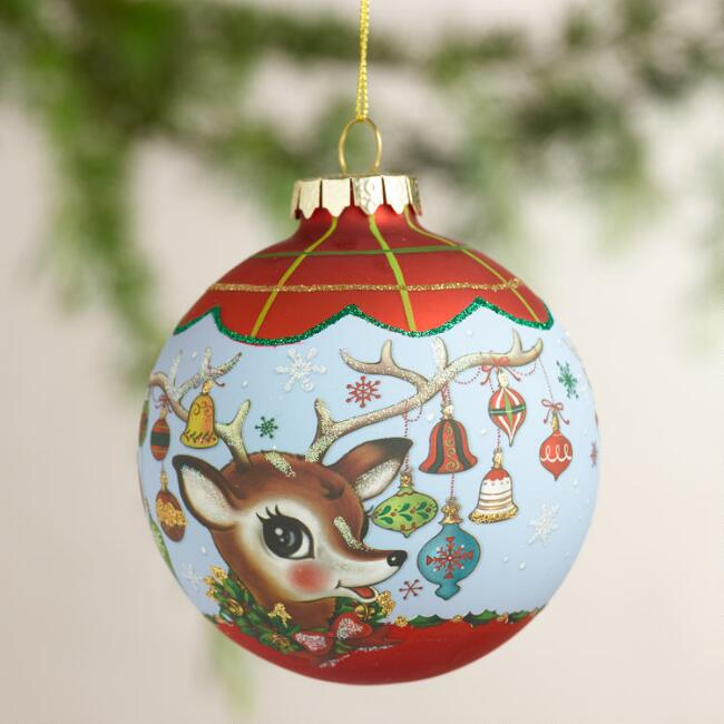 Retro-Style Glass Ball Ornaments, Set of 2