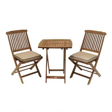 Cavallo 3-Piece Outdoor Bistro Set With Natural Cushions