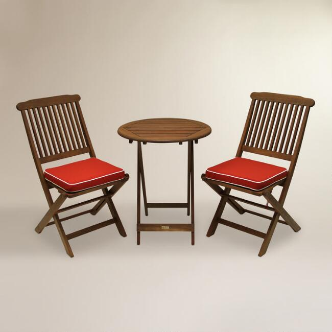 Cavallo 3-Piece Bistro Set with Red Cushions