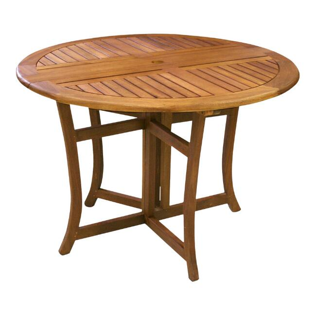 Round Eucalyptus Wood Danner Folding Outdoor Dining Table