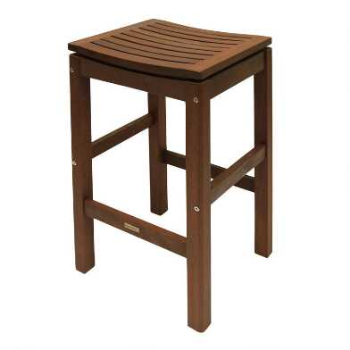 Wood Backless Oreton Outdoor Barstools Set Of 2