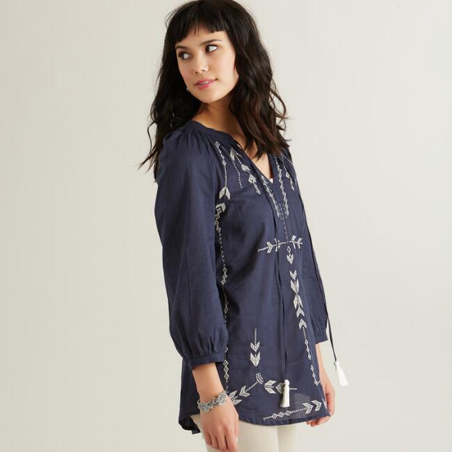 Navy and Gray Embroidered Terina Top