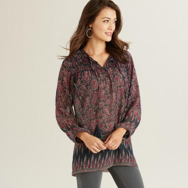 Navy and Cream Paisley Aerin Tunic