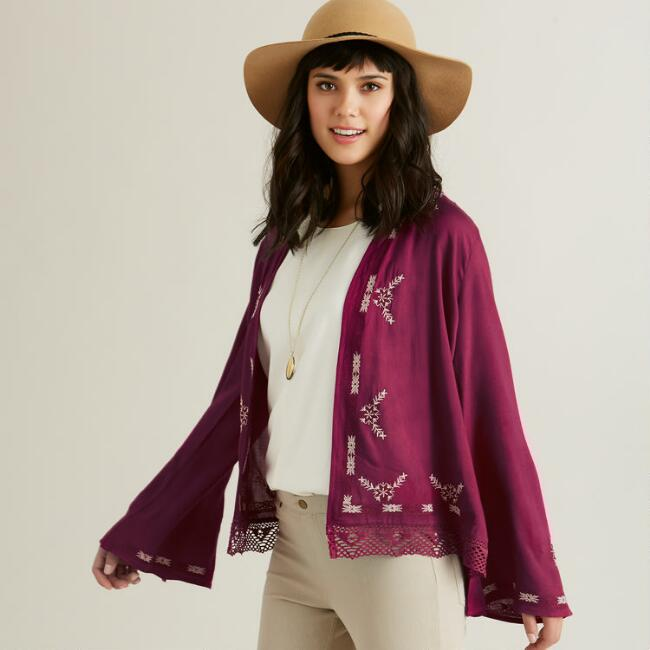 Fuchsia Embroidered Taya Jacket
