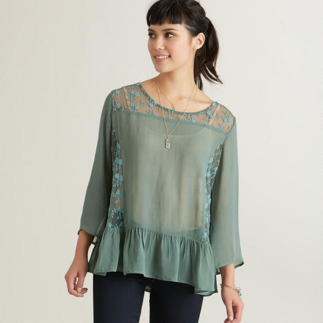 Teal Lace Marion Blouse