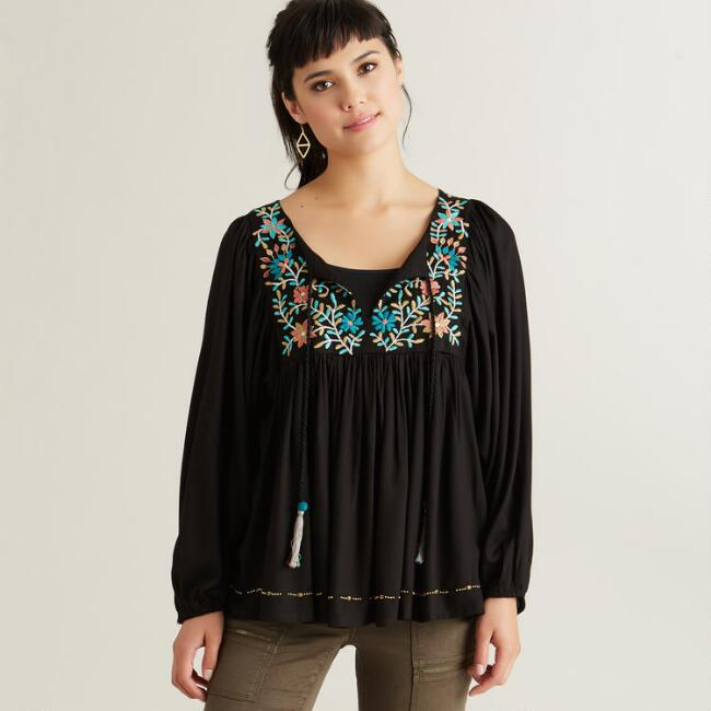 Black Embroidered Wynn Top