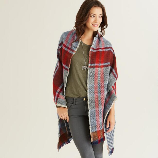 Red and Blue Plaid Blanket Scarf