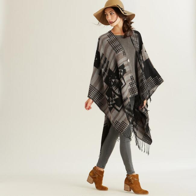Black and Brown Southwestern Ruana Wrap