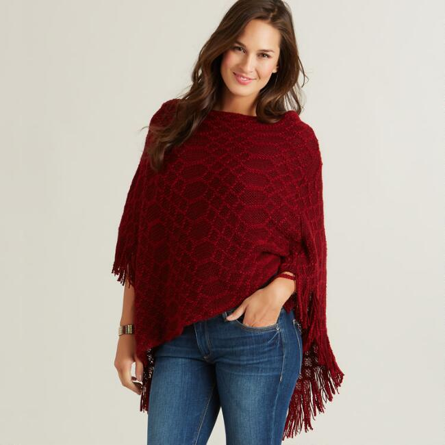 Red and Wine Poncho