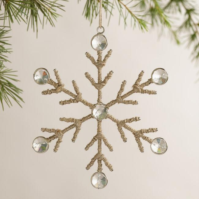 Wire and Gem Snowflake Ornaments, Set of 2