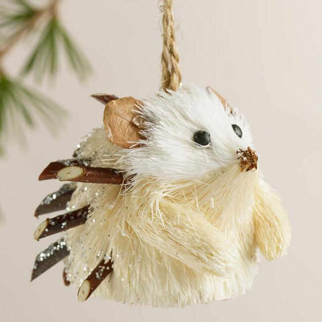Natural Fiber Hedgehog Ornaments, Set of 4