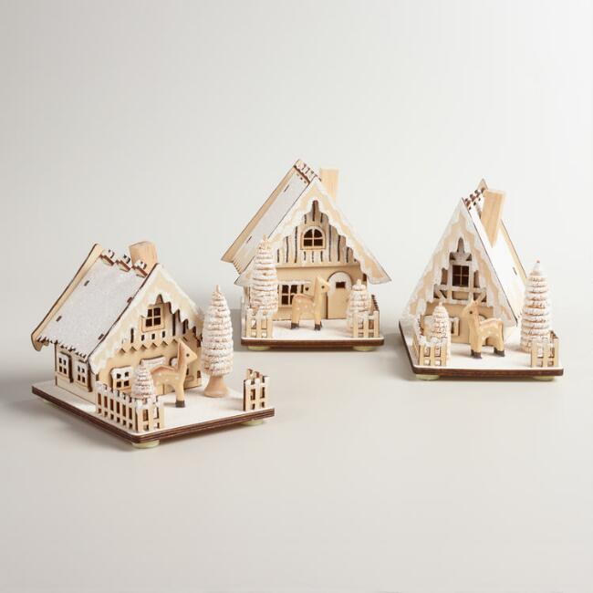 Wood House with Snow Decor, Set of 3