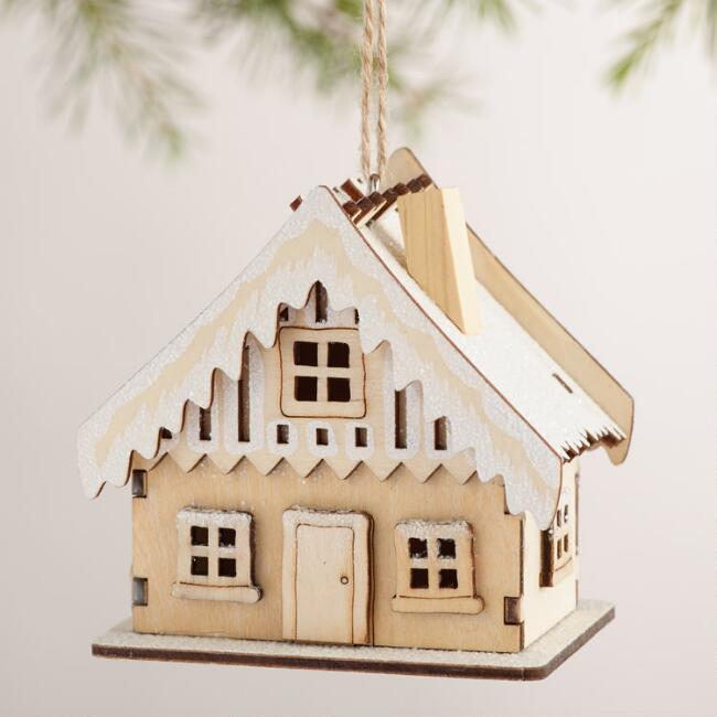Laser-Cut Wood House Ornaments with Snow, Set of 3